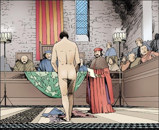 François d'Assise dépouillement devant l'Evêque